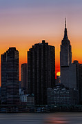 Skylines Metal Prints - Empire State Building Sunset Metal Print by Susan Candelario