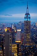 Architecture Photo Metal Prints - Empire State by Night Metal Print by Inge Johnsson
