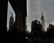 Grey Clouds Posters - Empire State Reflection Poster by Benjamin Yeager
