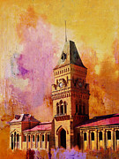 Red Buildings Framed Prints - Empress Market Framed Print by Catf