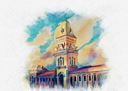 University Of Illinois Painting Originals - Empress Market Karachi by Catf
