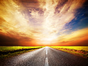 Road Travel Posters - Empty asphalt road. Sunset Sky Poster by Michal Bednarek