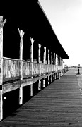 Connecticut Drawings Prints - Empty Boardwalk Print by David M Davis
