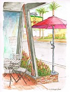 Laguna Beach Painting Metal Prints - Empty-cafe-in-Laguna-Beach-CA Metal Print by Carlos G Groppa