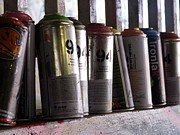 Spray Paint Cans Photos - Empty Cans by Lee Renton