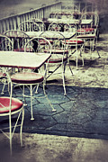 Old Diner Seating Posters - Empty Chairs and Tables Outside at Restaurant Poster by Birgit Tyrrell