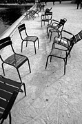 Empty Chairs Posters - Empty Chairs in Paris Park Poster by Lee Martin