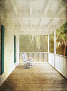 Front Porch Posters - Empty Chairs Poster by Judy Hall-Folde