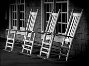 Ladder Back Chairs Metal Prints - .Empty Chairs. Metal Print by Lynn E Harvey