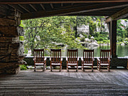 Rocking Chairs Digital Art Posters - Empty Chairs - Mohonk Mt. House Poster by Donna Lee Blais