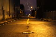 Empty City Street At Night With Lighting Strike Print by Denis Tangney Jr