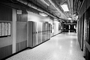 Hallways Prints - empty corridor of High school canada north america Print by Joe Fox