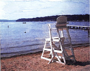 Fed Hill Prints - Empty Lake Empty Beach Summers Out of Reach  Williams Bay  WI Print by Jane Butera Borgardt