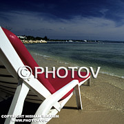 Beach Towel Prints - Empty Lounge Chair on Beach Print by Hisham Ibrahim