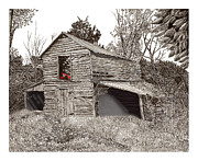 Metal Prints Drawings Framed Prints - Empty old barn Framed Print by Jack Pumphrey