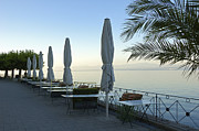 Lonesome Acrylic Prints - Empty promenade in the morning Meersburg Lake Constance Acrylic Print by Matthias Hauser