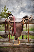 Cowboy Life Posters - Empty Saddle Poster by Cindy Singleton