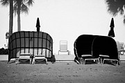 Sun Shades Posters - Empty Temporary Beach Cabanas Sunshades On Fort Lauderdale Beach Florida Usa Poster by Joe Fox