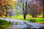 Park Benches Mixed Media - Empty walkway on a beautiful rainy autumn day by Nishanth Gopinathan