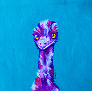 Emu Paintings - Emu Turquoise by Margaret Saheed