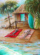 Flip-flops Paintings - En La Playa by Heather Calderon