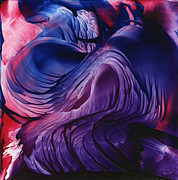 Purple Artwork Posters - Encaustic 826 Poster by Hakon Soreide