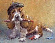 Paws Paintings - Enchanted Basset Hound Artist by Viktoria K Majestic