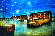 North Sea Digital Art Prints - Enchanted Evening On North Berwick Harbor Print by Mark E Tisdale