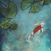Koi Fish Painting Posters - Enchanted Kio Poster by Eve  Wheeler
