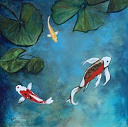 Koi Painting Posters - Enchanted Koi Trio Poster by Eve  Wheeler
