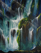 Waterfalls Paintings - Enchanted by Marco Antonio Aguilar