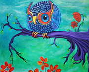 Colorful Owl Paintings - Enchanted Owl by Laura Barbosa
