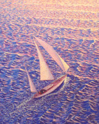 Sailboat Paintings - ENCHANTED PASSAGE  sailboat sailing on ocean at sunset picture  by John Samsen