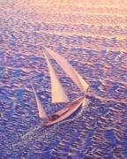 Enchanted Passage  Sailboat Sailing On Ocean At Sunset Picture  Print by John Samsen