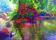 Wild Woodland Painting Posters - Enchanted Pool Poster by Jane Small