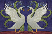 Swans Paintings - Enchanted Swans by Douglas Girard