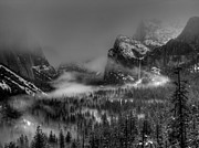 Bridalveil Falls Prints - Enchanted Valley in Black and White Print by Bill Gallagher