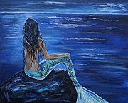 Under The Ocean  Paintings - Enchanting Mermaid by Leslie Allen