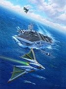 F-18 Posters - Encountering Atlantis Poster by Stu Shepherd