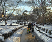 Park Benches Photos - End of a Busy Day in Central Park by Muriel Levison Goodwin