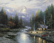Mountain Cabin Painting Framed Prints - End of a Perfect Day II Framed Print by Thomas Kinkade