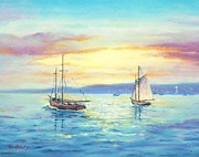 Sailboat Ocean Pastels Posters - End of Day Poster by Ace Robst Jr