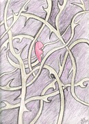 Vines Drawings Posters - End of My Broken Heart Poster by Anna Kinton