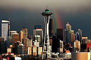 Seattle Skyline Framed Prints - End of the Rainbow Framed Print by Benjamin Yeager