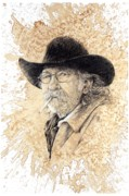 Cowboy Drawing Originals - End of the Ride by Debra Jones
