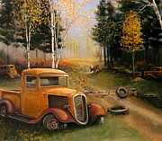 Rat Rod Painting Posters - End of the Trail Poster by Whitey Thompson