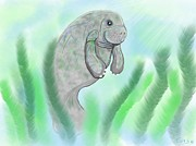 Nick Gustafson Art - Endangered Manatee by Nick Gustafson