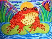 Dragon Fly Drawings Posters - Endangered Red Legged Frog Poster by Nick Gustafson