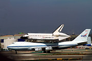 Spaceshuttle Framed Prints - Endeavor and NASA 747 Taxi after Final Landing Framed Print by Denise Dube