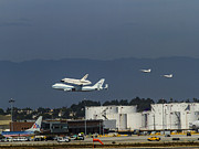 Spaceshuttle Framed Prints - Endeavor foies first of two Flyovers over LAX Framed Print by Denise Dube